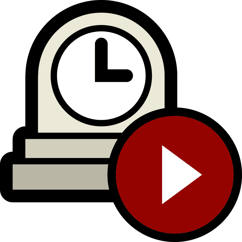 Icon of a play button overlapping a clock